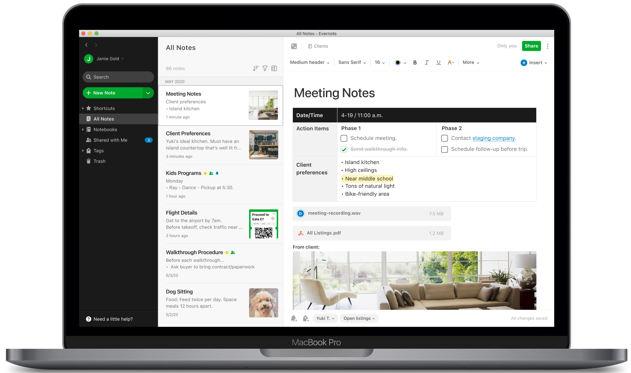 Captura de tela do novo Evernote para Mac