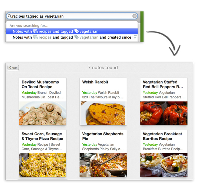 How to find notes using descriptive search in Evernote for