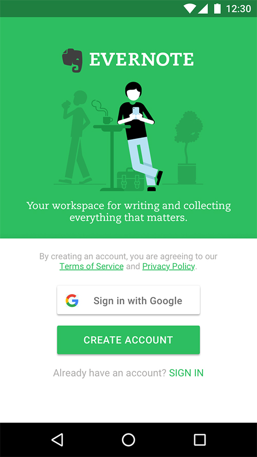 """Sign in with Google"" on Evernote for Android"