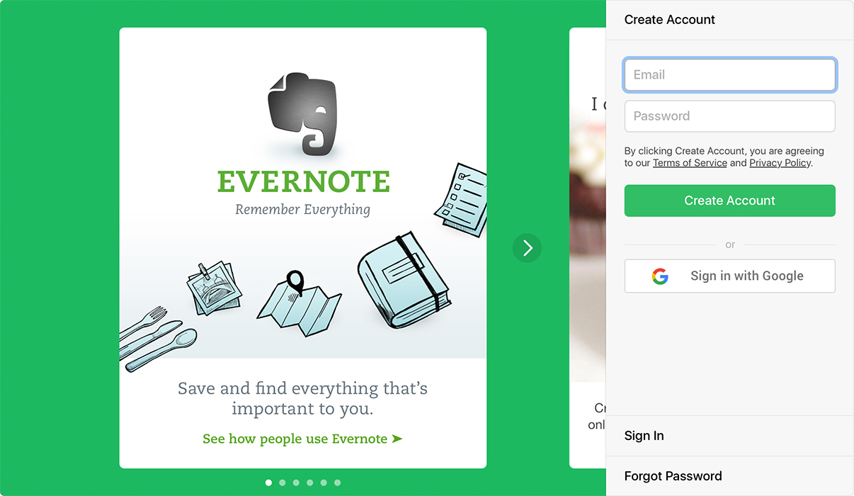 """Sign in with Google"" on Evernote for Mac"
