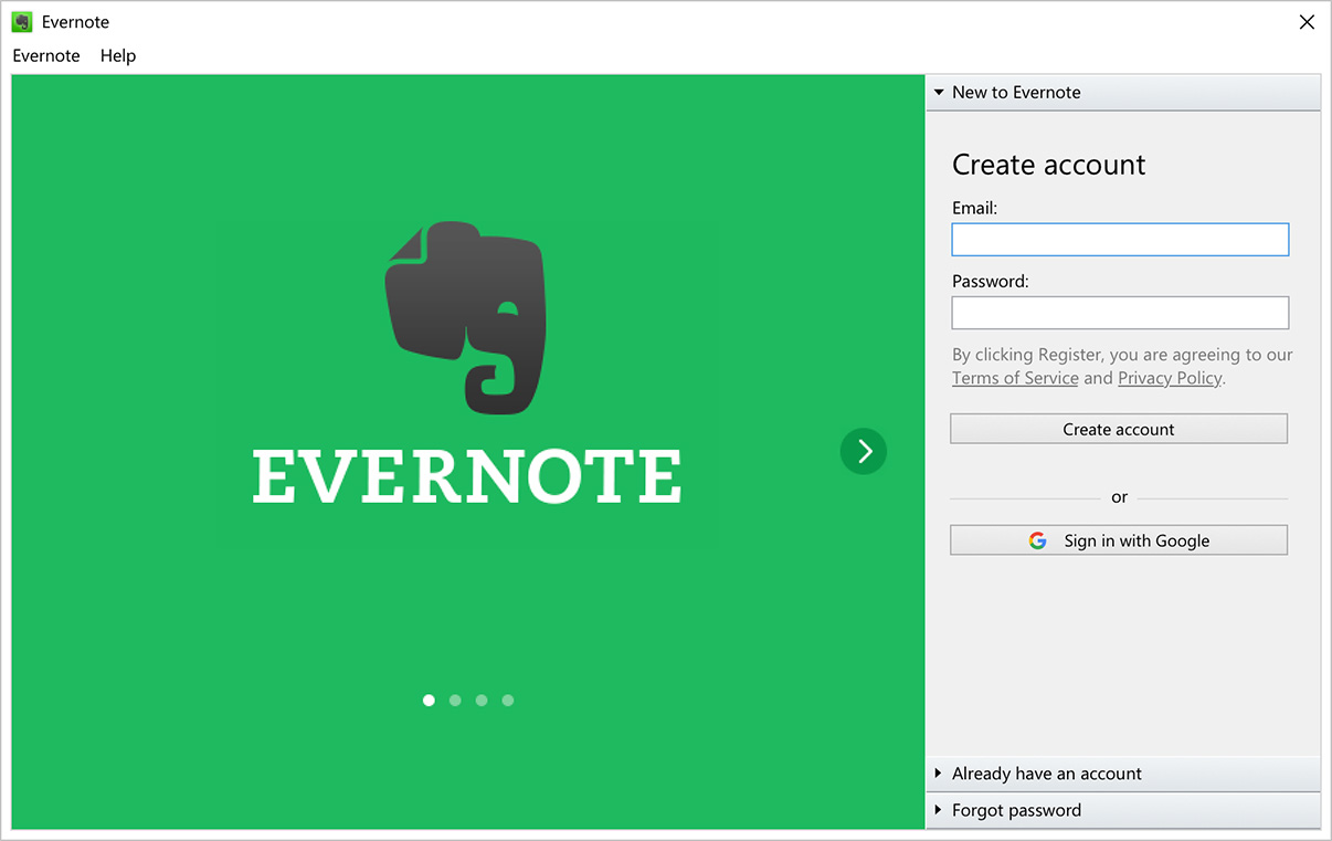 """Inicio de sesión con Google"" en Evernote para Windows"