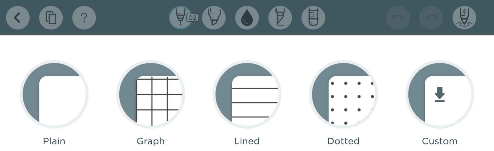 Screenshot of paper options
