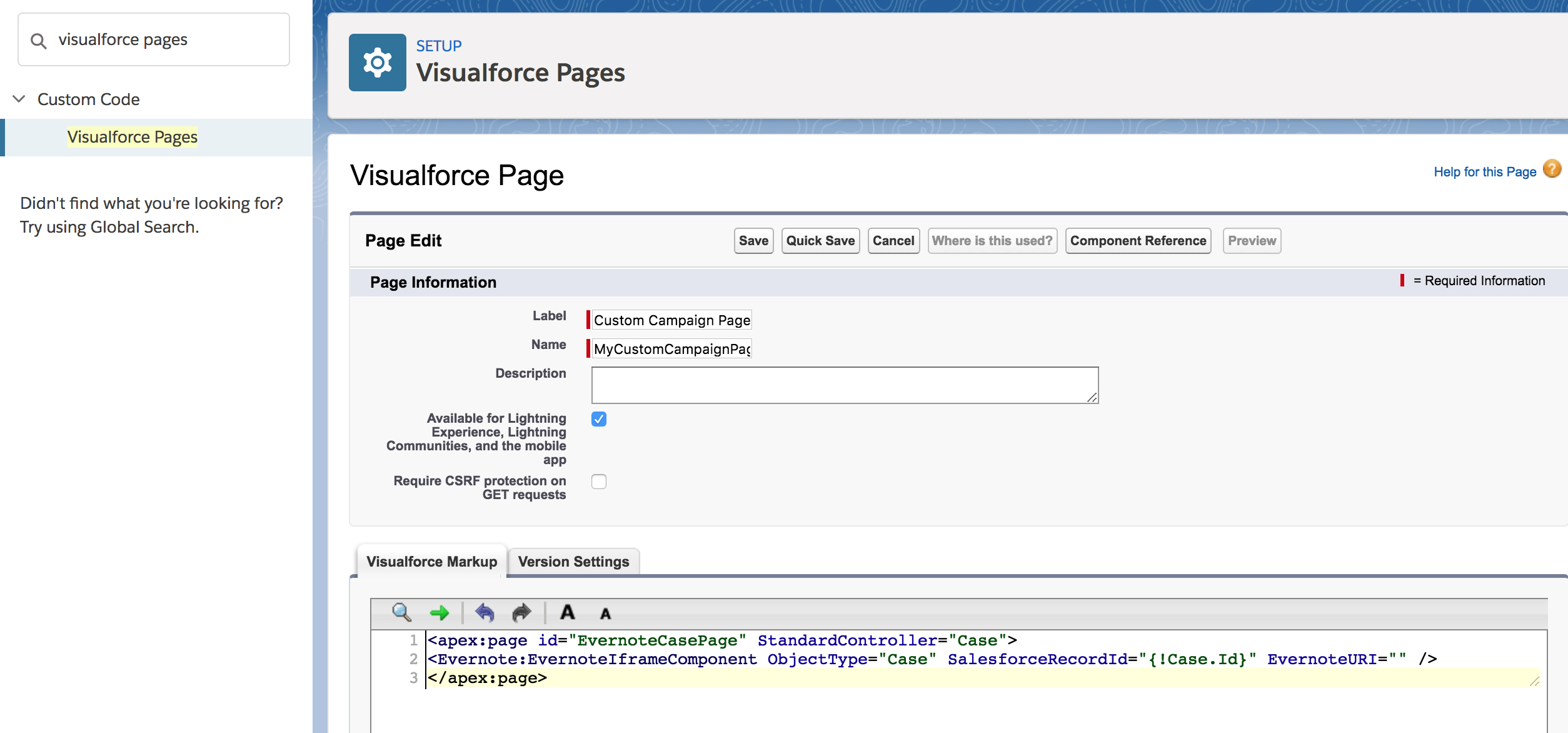 Visualforce page snippet