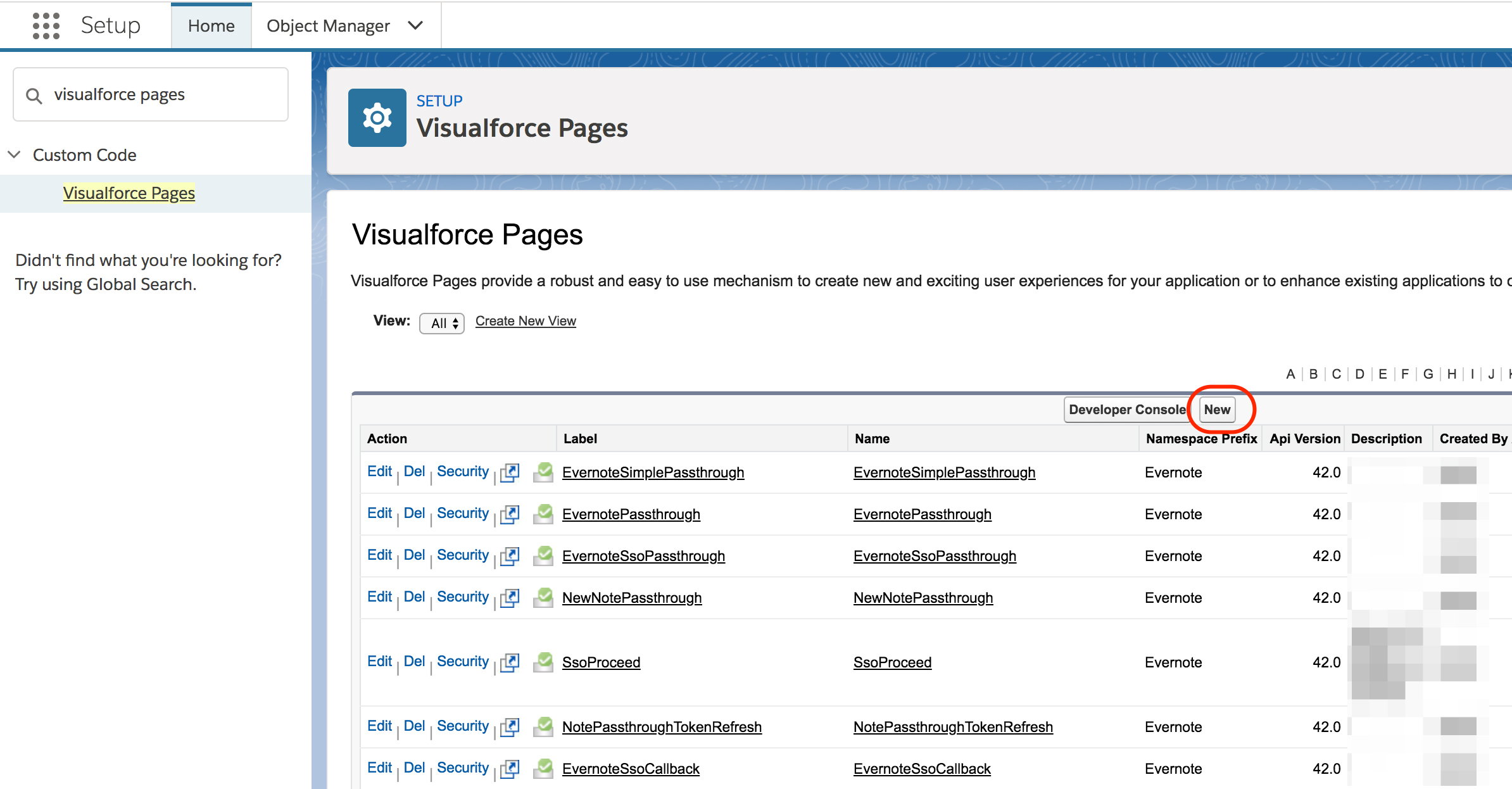 Add Evernote to a Visualforce page