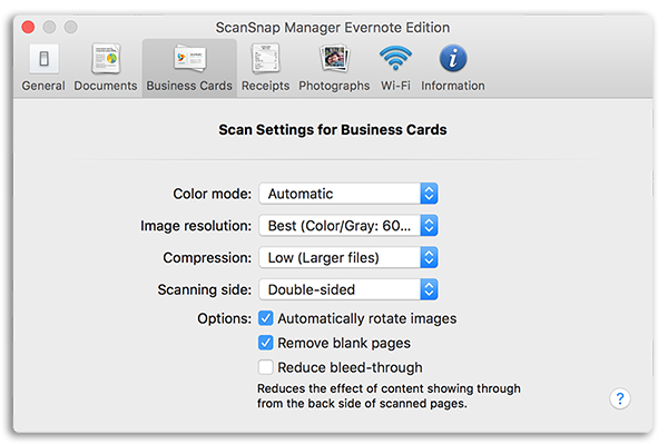 ScanSnap Manager (Evernote Edition) の名刺タブ