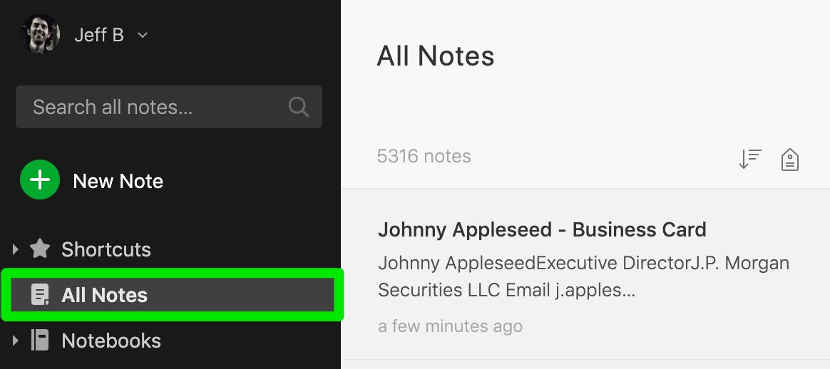 Lista 'Todas as Notas' no Evernote onde você consegue encontrar digitalizações bem sucedidas
