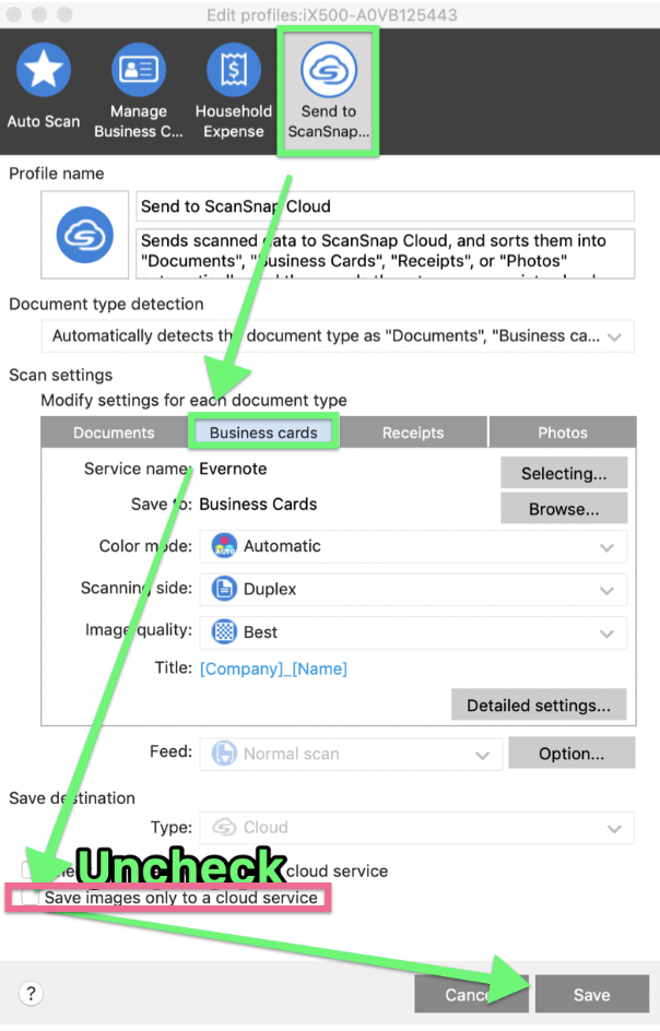 Settings for business card scans