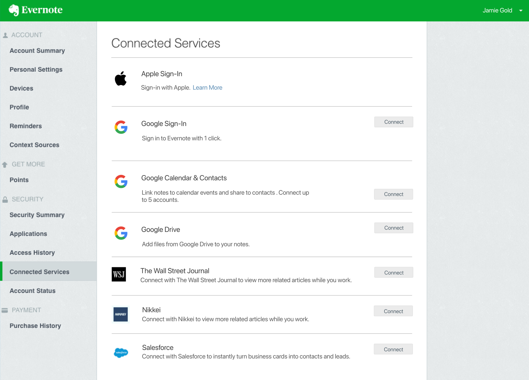 'Connected Services' page in account settings