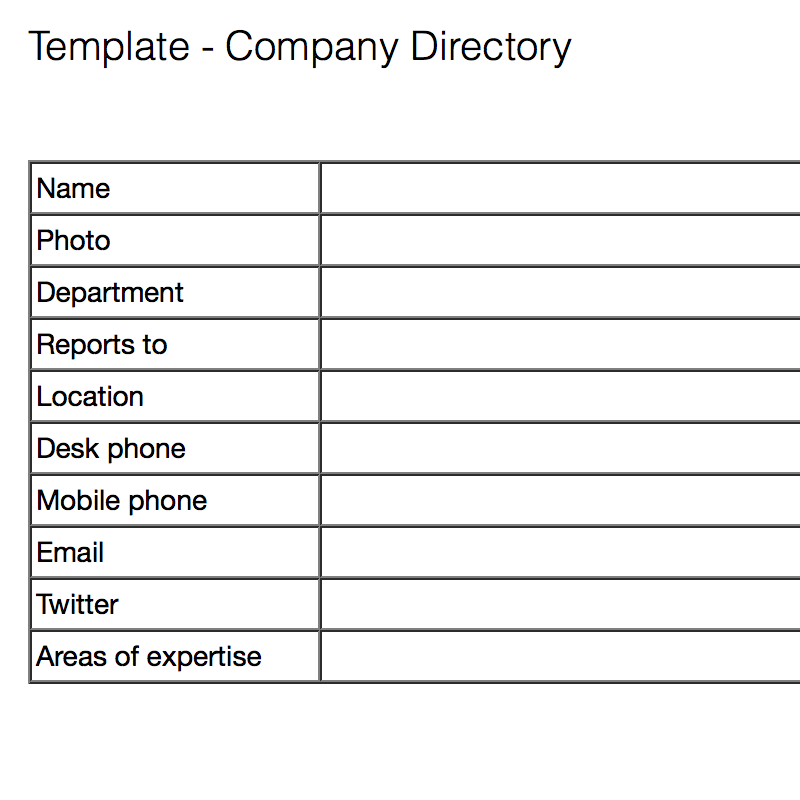 Company Directory Idea Information Templates