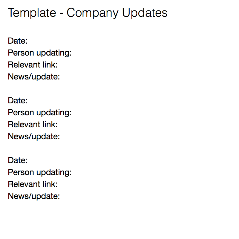 Company Updates  Information Templates