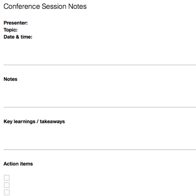 Note Templates For Meetings