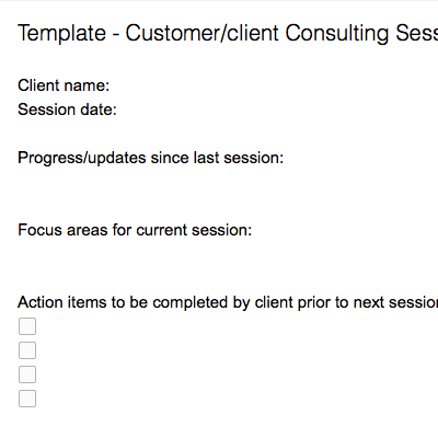 Customer/Client Consulting Session Details