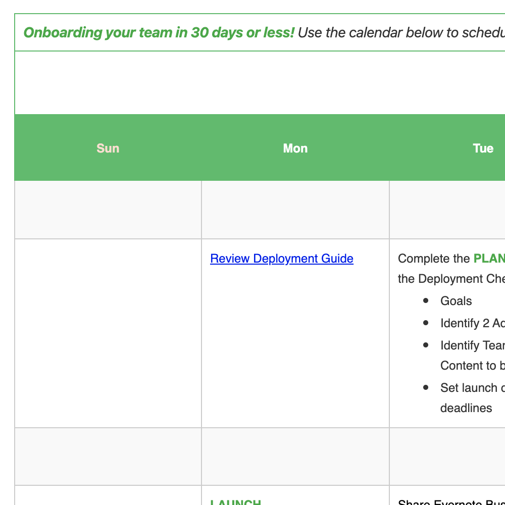 Evernote Business Deployment Calendar