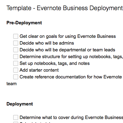 Evernote Business Deployment Checklist