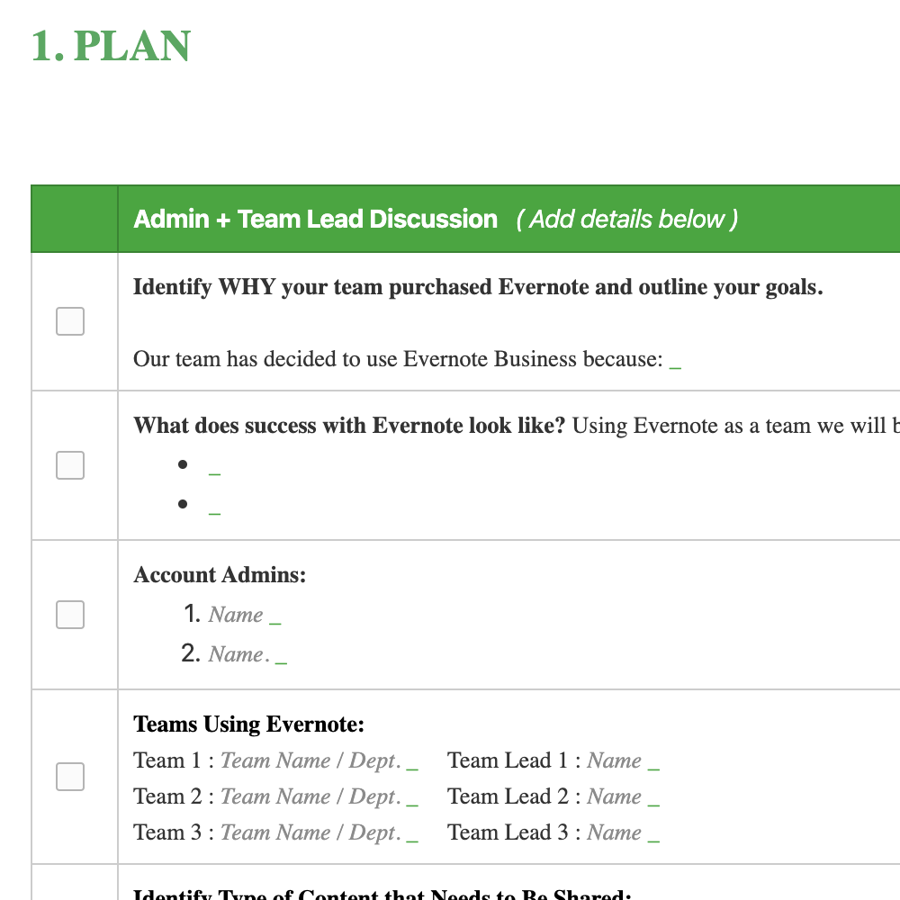 Evernote Business Deployment Guide (Detailed Checklist)