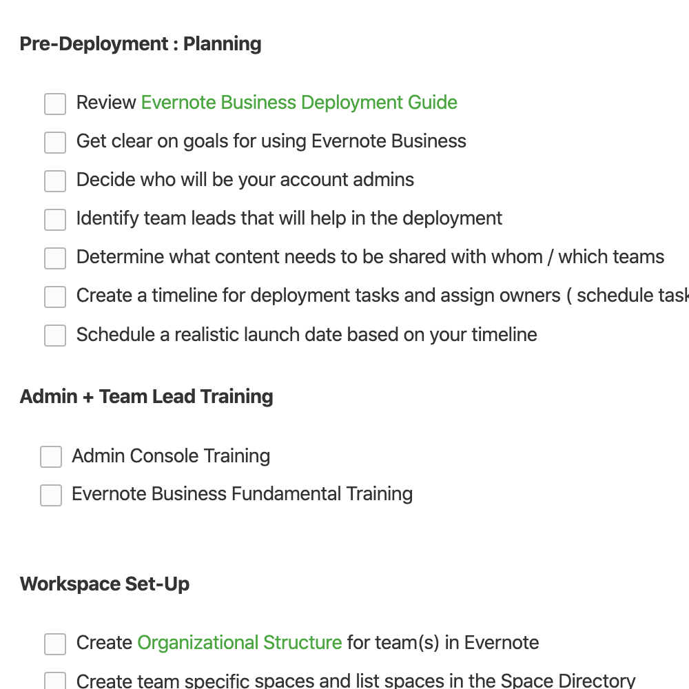 Evernote Business Deployment Guide (Simple Checklist)