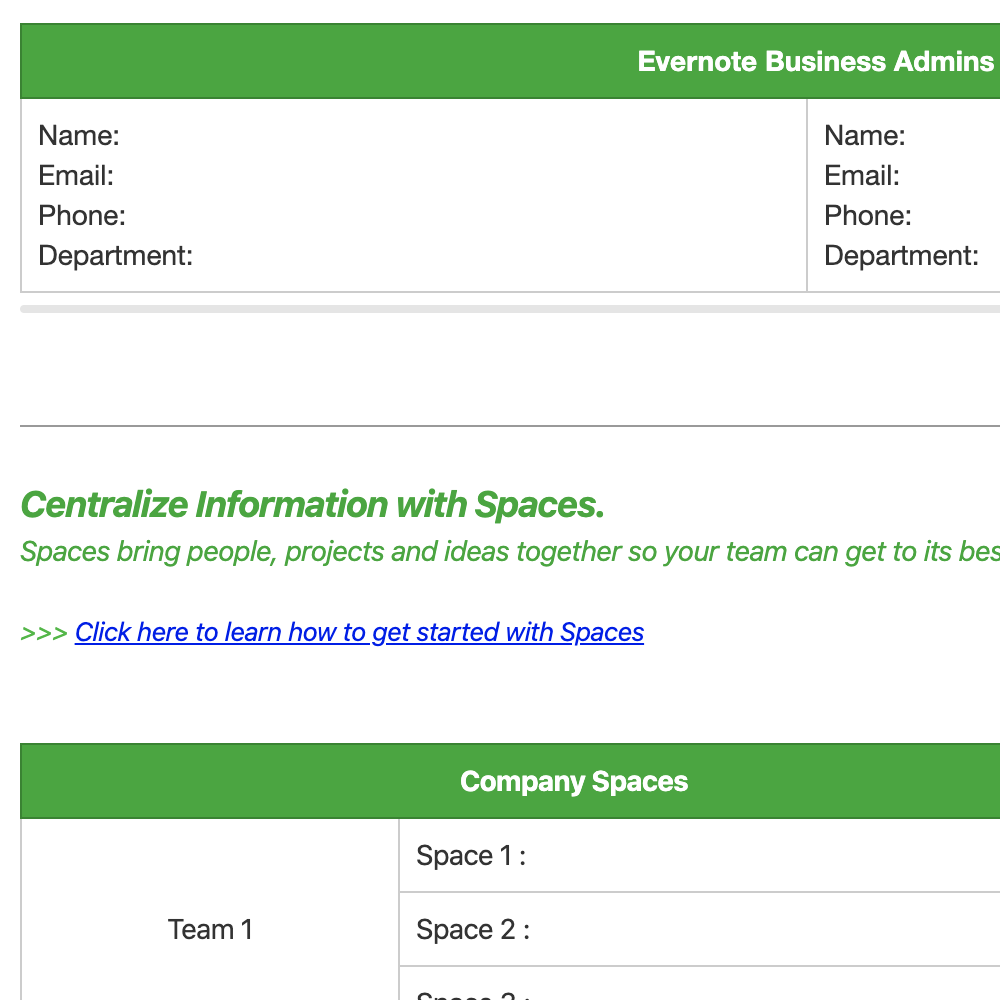 Organizational Structure in Evernote