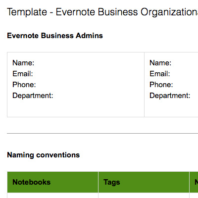 Evernote Business Organizational Structure
