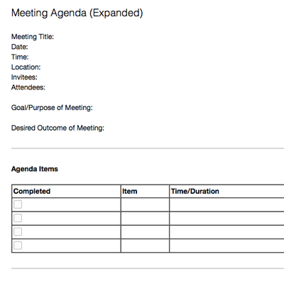 Meeting Agenda (Expanded)  Meeting Note Taking Template