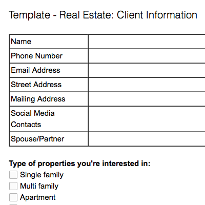 Note templates for real estate Evernote Help Learning – Name Address and Phone Number Template