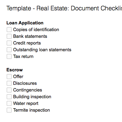 Real Estate: Document Checklist