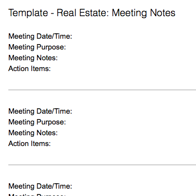 Real Estate: Meeting Notes