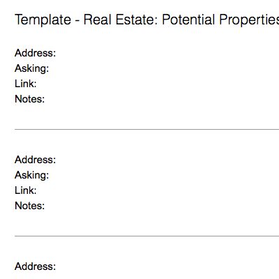 Real Estate: Potential Properties