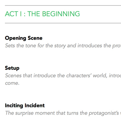 Three-act story plot template