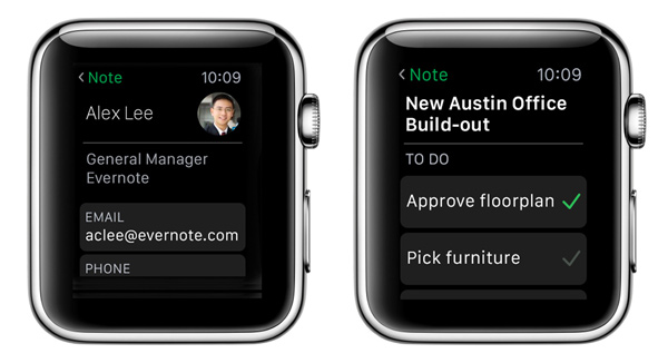 Apple Watch contacts and checklists