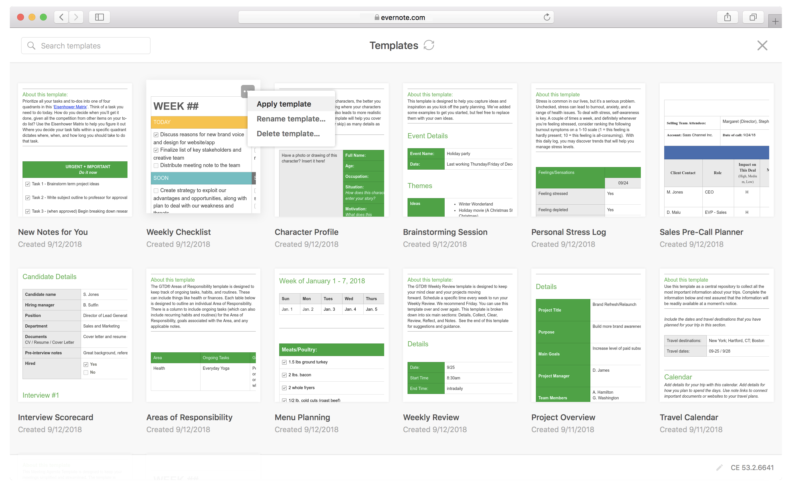 A view of a personal template gallery in Evernote Web