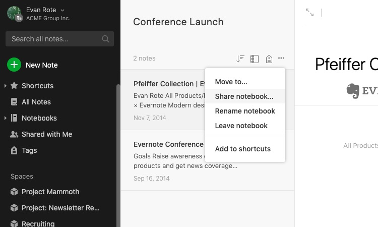 Screenshot of notebook shared