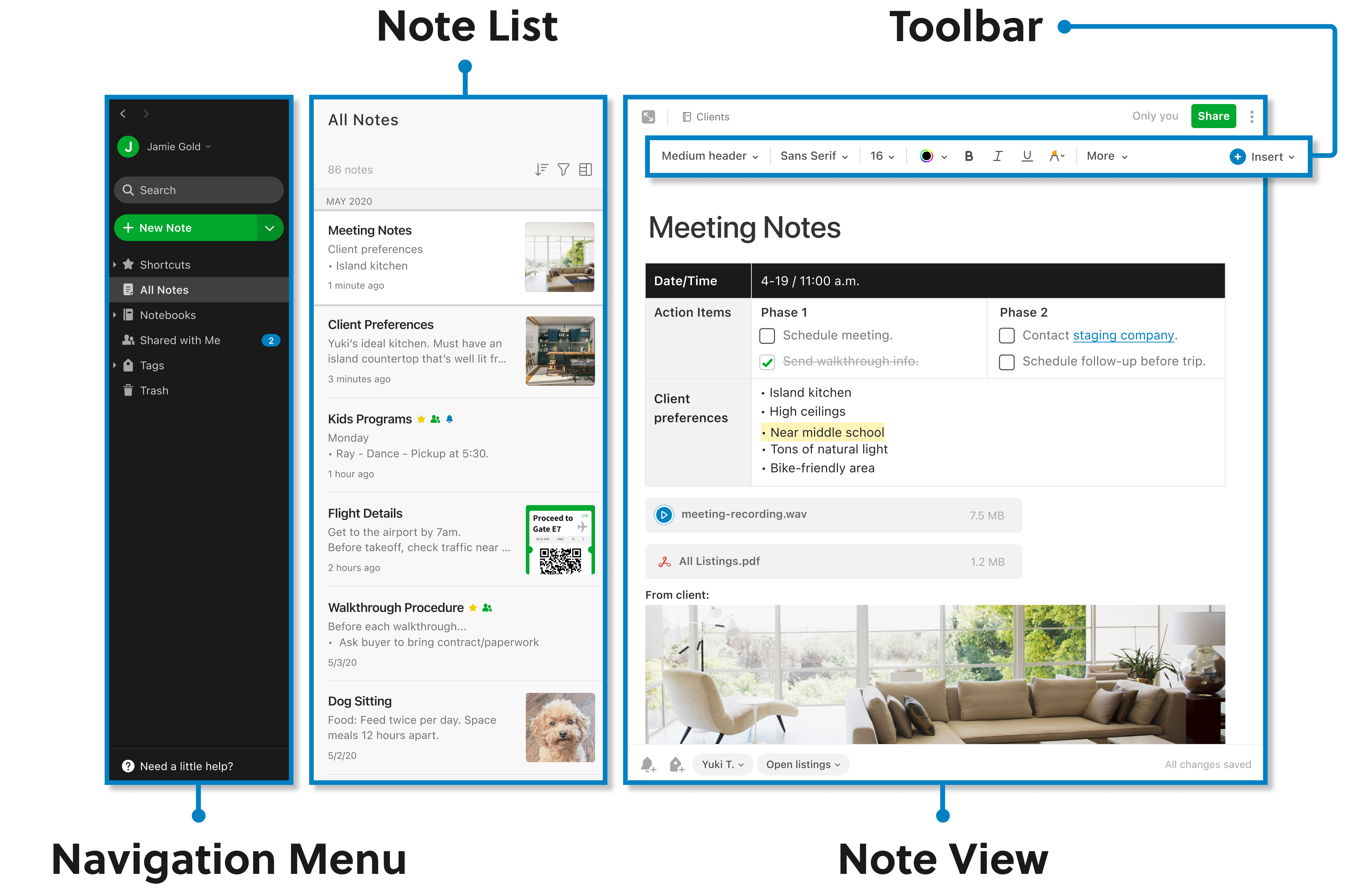 Diagram of Evernote for Windows interface