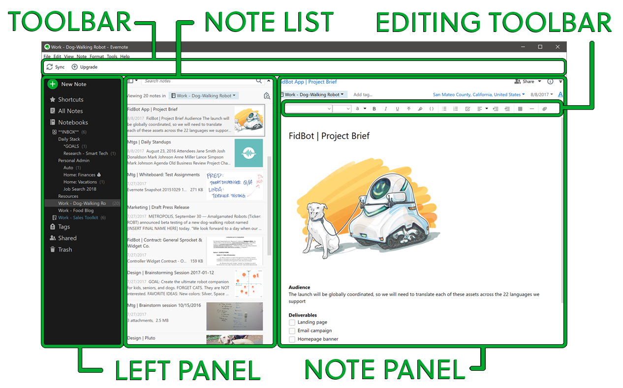 Interface utilisateur d'Evernote pour Windows