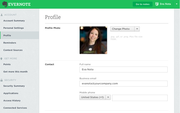 How to change your profile name and picture – Evernote Help